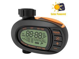 Watering Timer Solar Hose Faucet Timer Outdoor Sprinkler Timer Single Outlet Automatic and Manual Watering System Easy to Program
