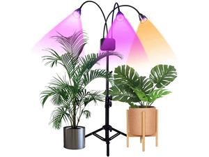 Grow Lights with Stand Full Spectrum TriHead Flexible Gooseneck Plant Light for Indoor Plants Timing 3912H Tripod Adjustable 1547 inch 3 Modes amp 10Level Brightness