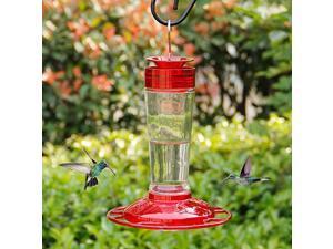 Hummingbird Feeder Glass Bottle Bird Feeders 5 Feeding Ports 10Ounce Nectar Capacity Red and Yellow
