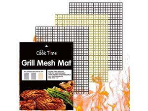 Grill Mesh Mat Set of 3 Non Stick Barbecue Grill Sheet Liners Teflon Grilling Mats Nonstick Fish Vegetable Smoking Accessories Works on SmokerPelletGas Charcoal Grill1575x13inches