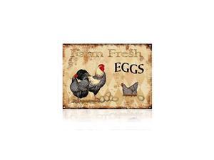 Farm Fresh Eggs Chicken Hen Rooster Tin Signs Kitchen Retro Vintage Decor Metal Bar Coop Sign125x16Inch