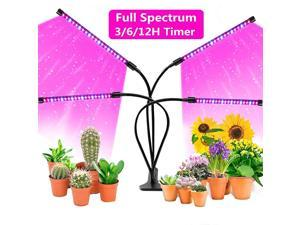 LED Grow Lights 80W 4 Head Timing 5 Dimmable and Felxible dimmable Modes LED Plant Grow Lights for Indoor Plants with Full Spectrum Adjustable Gooseneck 3 6 12H Timer 4 Lighting Modes