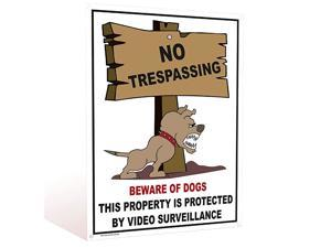 of Dog Funny Animated for Yard Fence Outdoor Warning Sign No Trespassing Violators Video Surveillance Wont Rusty PVC Sign Easy to Mount 4 PreDrilled Holes