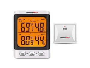 TP62 Digital Wireless Hygrometer Indoor Outdoor Thermometer Temperature and Humidity Gauge Monitor with Backlight LCD Display Humidity Meter 200ft60m Range