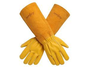 Gardening Gloves for WomenMen Rose Pruning Thorn amp Cut Proof Long Forearm Protection Gauntlet Durable Thick Cowhide Leather Work Garden Gloves Small Yellow