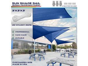 3 x 3 x 3 Sun Shade Sail Canopy in Ice Blue with Commercial Grade 3 Year Warranty Customized Sizes Included Free Pad Eyes