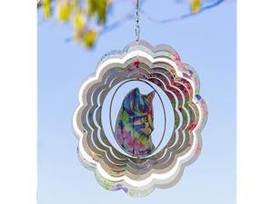 Kinetic 3D Metal Outdoor Garden Decor Wind Spinner Colorful Cat