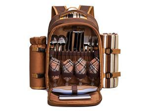 Picnic Backpack Bag for 4 Person with Cooler CompartmentWine Bag Picnic Blanket45quotx53quotBest for Family and Lovers Gifts Brown