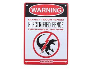 Electrified Raptor Fence Tin Litho Warning Sign LootCrate March 2017 Exclusive