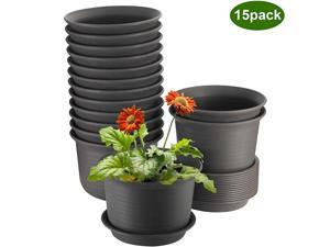 Plant Pots 6 inch Plastic Planters with Drainage Hole and Tray Pack of 15 Plants Not Included Brown