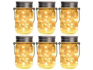Hanging Solar Mason Jar Lid Lights 6 Pack 30 Led String Fairy Lights Solar Laterns Table Lights 6 Hangers and Jars Included Great Outdoor Lawn Décor for Patio Garden Yard and Lawn