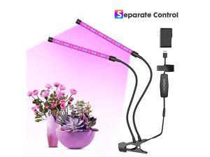 LED Grow Light Red Blue Spectrum for Indoor Plants with Timer 2Head Plant Growing Lamps with 3 Switch Modes and 6 Levels Dimmable for Succulent Plants Hydroponic Plants