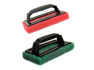 of 2 BBQ Grill Scrubbers 1quot Thick Scouring Pad with Handle Assorted Colors