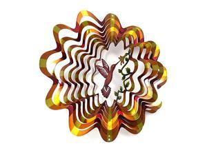 Whirligig 3D Wind Spinner Hand Painted Stainless Steel Twister Hummingbird 65quot Inch Multi Color Copper