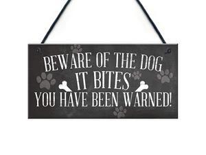Funny Beware of The Dog It Bites Dog Hanging Plaque Home Warning Sign Decor 10quot X 5quot