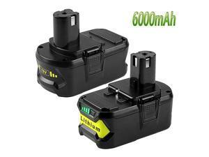 6000mAh P108 Battery for Ryobi 18V Battery Lithium ion Replacement for Ryobi one+ P108 P105 P102 P103 P107 P109 P104 Tools Batteries 2 Packs