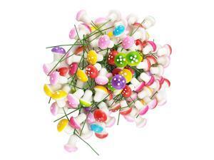 Pack of 100 Mini Foam Mushroom for Garden Ornament Flower Pots Bonsai Micro Landscape Decor Assorted Color