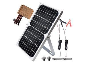 10W 12V Solar Panel Trickle Charger Battery Maintainer Kits + 10A Waterproof Solar Charge Controller + Adjustable Mount Tilt Rack Bracket + Solar Cable for Car RV Marine Boat Off Grid System