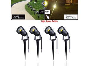7W LED Landscape Lights 12V Light Sensing Garden Lights Waterproof Warm White Walls Trees Flags Outdoor Spotlights with Spike Stand 4 Pack