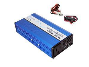 180 Watt 360 Watt Peak Pure Sine DC to AC Power Inverter USB Port Cables Included Non UL Listed