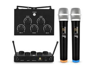Karaoke Microphone Mixer System Set with Dual UHF Wireless Mic 35mm AUXOpticalCoaxial in Singing Receiver for KTV Amplifier Speaker