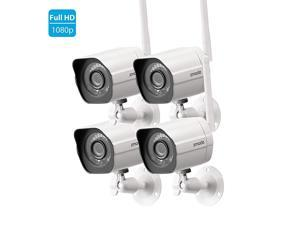 1080p Full HD Outdoor Wireless Security Camera System, 4 Pack Smart Home Indoor Outdoor WiFi IP Cameras with Night Vision, Compatible with Alexa