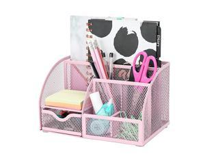 Mesh Desk Organizer Office with 7 Compartments + DrawerDesk Tidy CandyPen HolderMultifunctional Organizer Color Light Pink EX348LPK