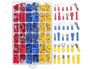 840PCS Electrical Wire Connectors Insulated Wire Crimp Terminals Mixed Butt Ring Fork Spade Bullet Quick Disconnect Assortment Kit