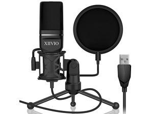 USB Gaming Condenser Microphone PlugPlay Computer PC Microphone Mic with Tripod Stand and Pop Filter for MacWindowsRecording Voice Over Streaming TwitchPodcastingYouTube