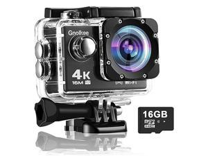 WiFi Action Camera, 4K 16MP Underwater Video Camera 170 Wide Angle Sports Camera with Remote, 2 Batteries, 16GB TF Card, 24 Accessories Mounting Kit?2020Upgrade?