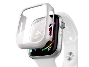Compatible for Apple Watch Series 6/5 /4 /SE 44mm Case with Screen Protector Accessories Slim Guard Thin Bumper Full Coverage Matte Hard Cover Defense Edge for iWatch Women Men GPS (White)