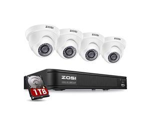 H265+ Home Security Camera System5MP Lite 8 Channel Surveillance DVR with Hard Drive 1TB and 4 x 1920TVL2MP Weatherproof CCTV Dome Camera Outdoor Indoor with 80ft Night Vision Motion Alerts