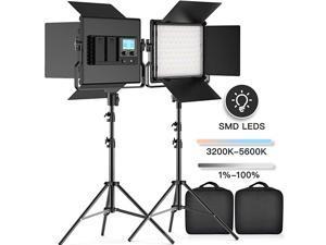 2 Kits BiColor LED Video Light LCD Display Video Lighting Kit CRI 96+ 3200K5600K Dimmable SMD LED Light with U Bracket Barndoor 79 Light Stand for Studio Photography Video Shooting