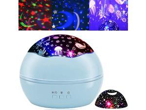 Projector Night Light for Kids Baby Projection Lamp 360 Degree Rotating ry Sky Ocean Projection Night Light 8 Colors Changing Light for Children Kids Boys Girls Bedroom Party Birthday Blue