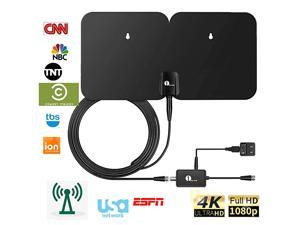 4K Double Panel HDTV Antenna IndoorOutdoor Amplified Digital TV Antenna Waterproof Support UHF VHF 4K Ultra HD Freeview Channels with 26ft Coaxial Cable