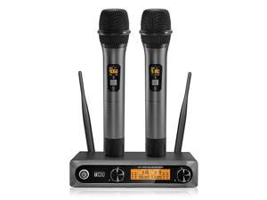 Wireless MicrophoneMetal Dual Professional UHF Cordless Dynamic Mic Handheld Microphone System for Home Karaoke Meeting Party Church DJ Wedding Home KTV Set 200ftTW820