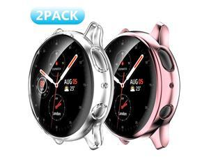 2 Pack Samsung Galaxy Watch Active 2 44mm Screen Protector Case Soft Slim TPU All Around Protective Shell AntiScratch Case Bumper Cover Case for Samsung Galaxy Active 2 44mm Accessories