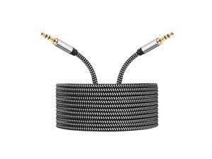 AUX Cord 3.5mm Auxiliary Audio Cable AUX Cable 50ft Nylon Braided Male to Male 3.5mm Audio Cable Compatible for Headphones, iPods, iPhones, iPads, Home/Car Stereos and More
