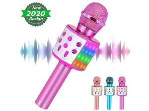 Karaoke Microphone Bluetooth for Adults and KidsPortable Microphone with Led LightsMost Popular Toys Birthday Gifts for for 4 5 6 7 8 9 10 Year Old Girls Boys