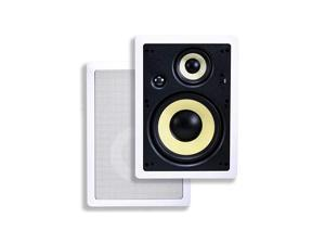 3Way Fiber InWall Speakers 8 Inch Pair With Removable And Paintable Grille Caliber Series