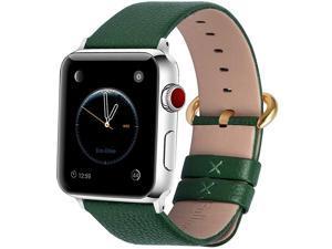 Compatible Apple Watch Band 38mm 40mm 42mm 44mm Leather Compatible iWatch BandStrap Compatible Apple Watch Series 5 4 3 2 1 38mm 40mm Dark Green + Golden Buckle
