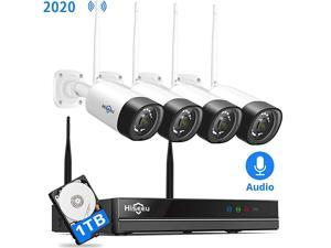 2K,Two Way Audio? Wireless Security Camera System,1TB Hard Drive,4Pcs 3MP Cameras 8Channel NVR,Mobile&PC Remote,Outdoor IP66 Waterproof,Night Vision,Motion Alert,Plug&Play,7/24/Motion Record