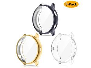 3-Pack Screen Protector Case Compatible with Samsung Galaxy Watch Active 2 40mm 44mm, Plated Soft TPU Case Full Coverage Screen Protective Cover Bumper Frame for Galaxy Active 2 Watch