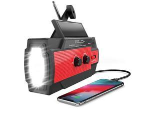 New) Emergency Hand Crank Radio, Portable Solar Radio, NOAA Weather Radio Support AM/FM/WB with 4000mAh Power Bank Charger, SOS Alarm, Flashlight for Outdoor, Household, Climbers