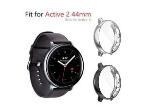 2 Pack Compatible for Samsung Galaxy Watch Active 2 44mm 2019 Cases HeavyDuty Overall Full Body Protective TPU AntiScratch Cover for Active2 44mm BlackSilver