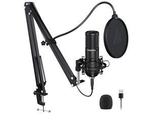 Podcast Microphone 192KHZ24BIT  AUPM420 Metal USB Condenser Cardioid PC Mic with Professional Sound Chipset for Gaming Streaming YouTube Voice Over StudioHome Recording