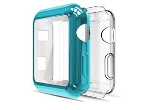 Soft Screen Protector Bumper Case Compatible with Apple Watch 42mm Series 3 Series 2 Pack of 2 All Around Clear+Blue