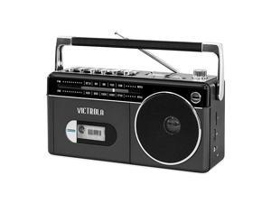 Mini Bluetooth Boombox with Cassette Player Recorder and AmFM Radio Grey