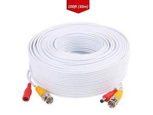 100ft 30M BNC Video Power Cable Security Camera Wire Cord for Surveillance Kit and SecurityWhite