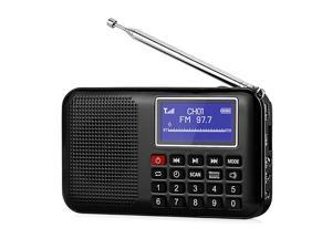 RF28 Portable FM Pocket Radio Support USBMP3AUXTF Card Music Player Speaker Digital Tuning Rechargeable Battery Operated with Flashligh Sleep Timer Black